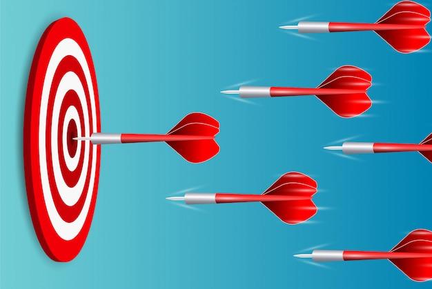 Darts gooien naar het dartbord