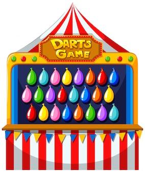 Darts-spel met ballonnen op de muur