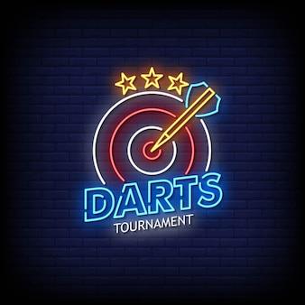 Darts toernooi neon borden stijl tekst vector