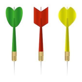 Dartset. verzameling van kleurrijke realistische darts. vector illustratie.