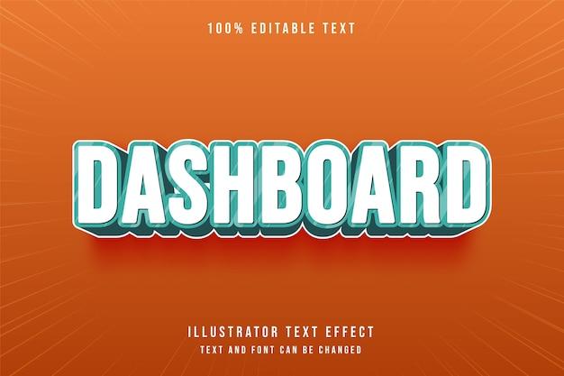 Dashboard, 3d bewerkbaar teksteffect blauwe gradatie komische stijl