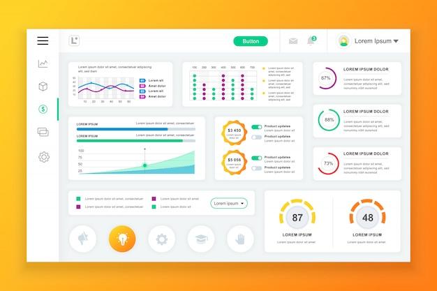 Dashboard admin-paneelsjabloon met infographic elementen