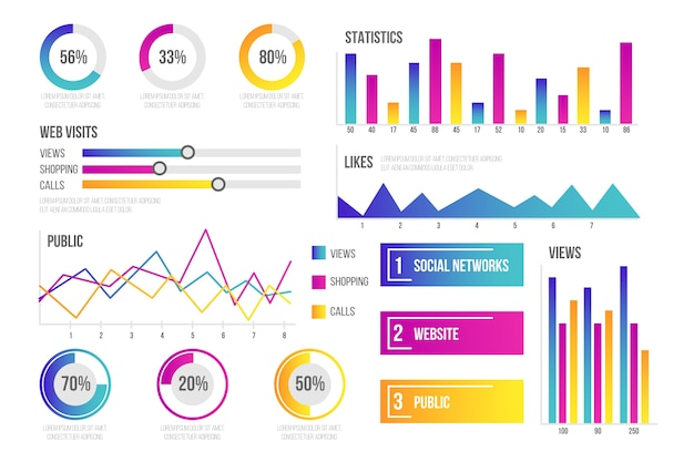 Dashboard element collectie infographic