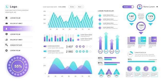 Dashboard-gebruikersinterface. admin paneel ontwerpsjabloon met infographic elementen