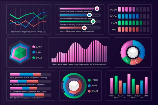 Dashboard infographic elementenset Gratis Vector