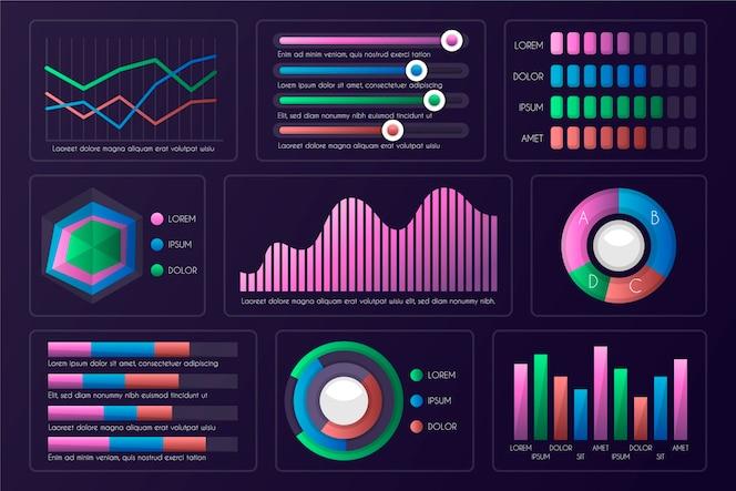 Dashboard infographic elementenset