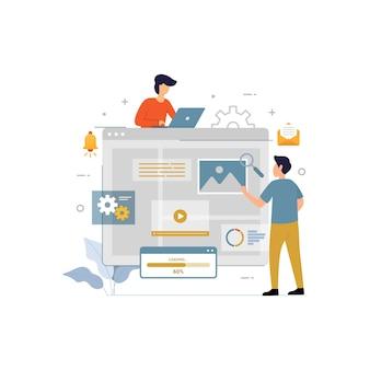 Dashboard instellen platte vector illustratie online freelancer ontwerpconcept