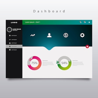 Dashboard sjabloon met diagrammen