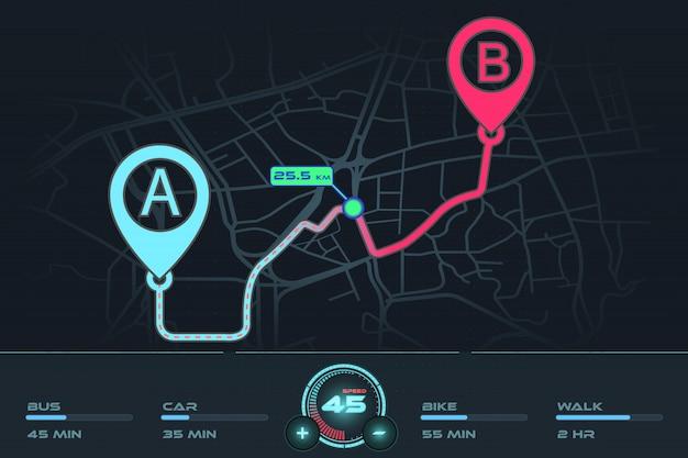Dashboardnavigatie gps trackingpunt a naar punt b