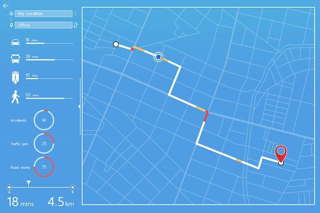 Dashboardontwerp van gps-navigatie in stadsplattegrond