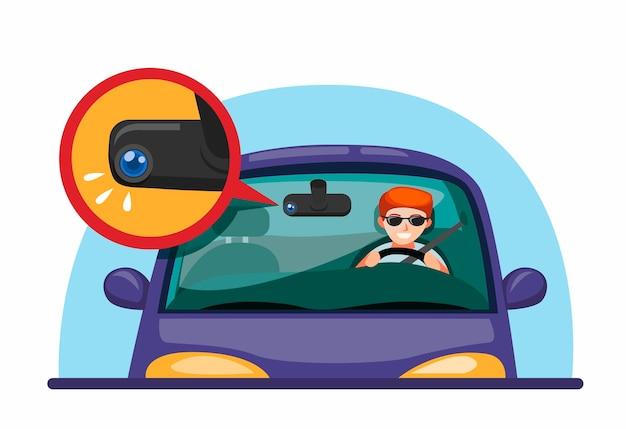 Dashcam voor auto's. man rijdende auto met spiegel dvr camera technologie symbool concept in cartoon afbeelding