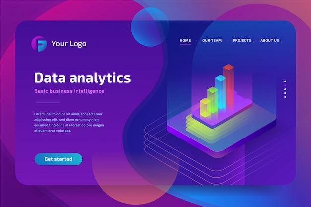 Data-analyse isometrische samenstelling voor website. isometrische illustratie
