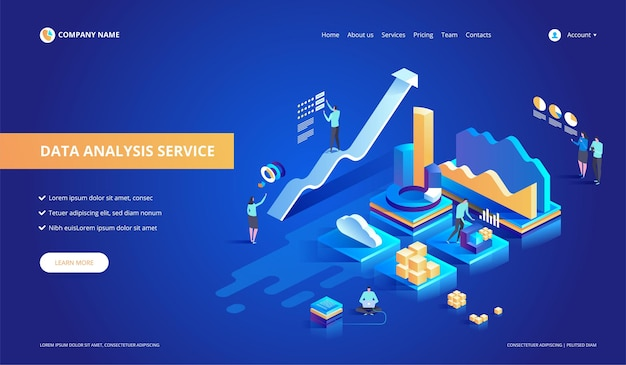 Data-analyse service isometrische abstracte illustratie.