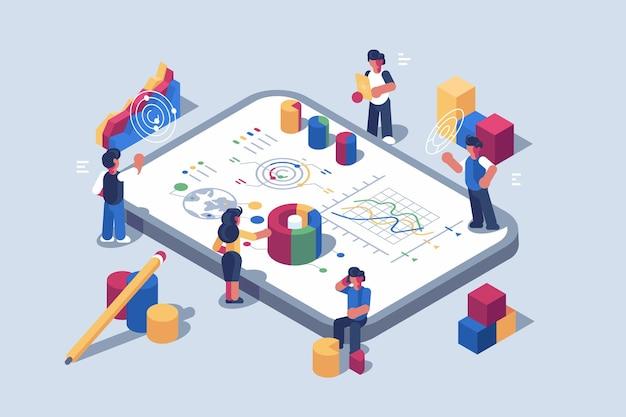 Data-analyse systeemsoftware voor illustratie van mobiele apparaten
