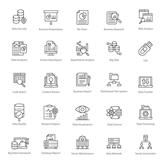 Data analytics-lijn icons pack