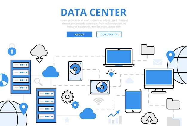 Data center banner in vlakke stijl