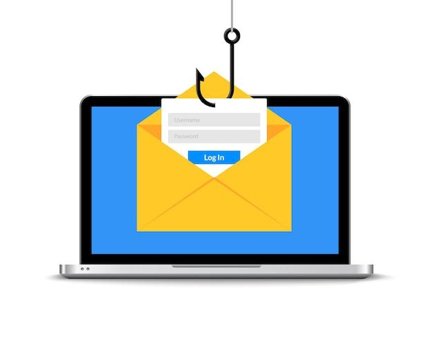 Data phishing hacken online. scam envelop concept. computergegevens visserij hack misdaad.