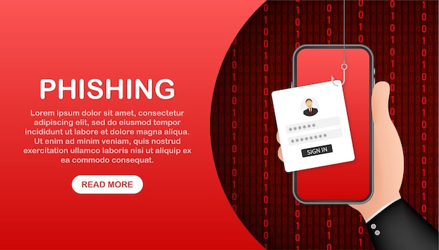 Data phishing met vishaak, mobiele telefoon, internetbeveiliging