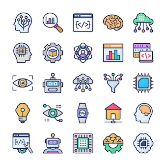 Data science technology flat icons pack