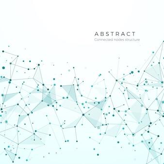 Data visualisatie concept. grafisch knooppuntpatroon. complexe ingewikkelde netwerkstructuur. abstracte futuristische plexus. samengestelde deeltjes, moleculaire mesh. illustratie