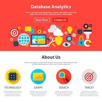 Database-analyse website-ontwerp. vlakke stijl vectorillustratie voor webbanner en bestemmingspagina.