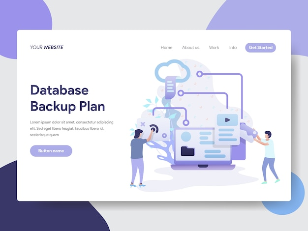 Database backup plan illustratie voor webpagina's