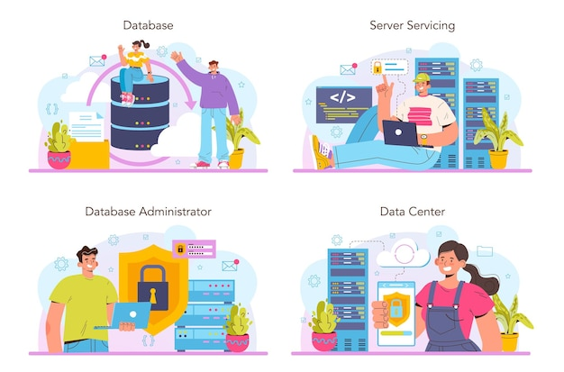 Database beheerder concept set. manager werken bij datacenter. gegevensbescherming, back-up en herstel. moderne computertechnologie, it-beroep. platte vectorillustratie