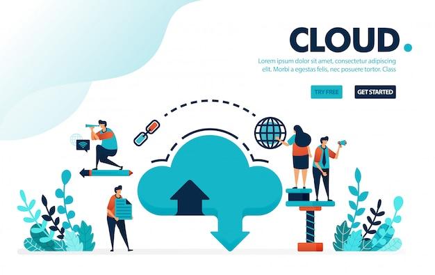 Database en cloud, downloaden en uploaden via internet naar cloud hosting systeem en opslag verhuurdiensten.