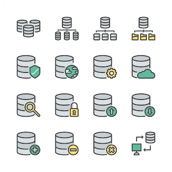 Database systeem icon set