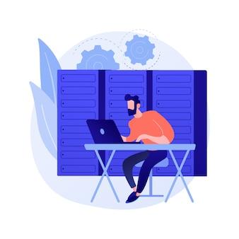 Database toegang, databank openen. informatiebeveiliging, informatiebescherming, beveiligde opslag. hacker stripfiguur. kantoor met metalen kluis.