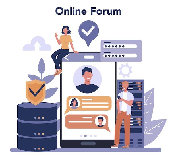 Databasebeheerder online service of platform. vrouwelijk en mannelijk karakter dat bij datacenter werkt. online forum. geïsoleerde vectorillustratie