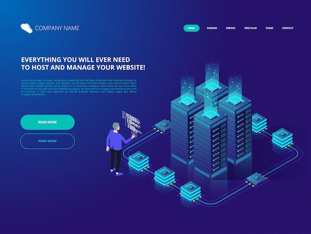 Datacenter cloud computer connection hosting server database.