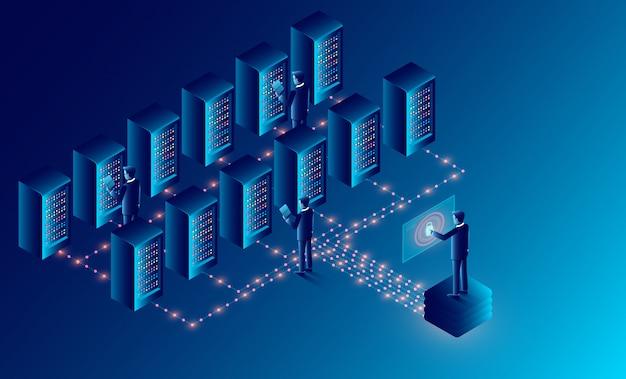 Datacenter cloud room cloud storage-technologie en big data processing bescherming van gegevensbeveiliging concept. isometrische