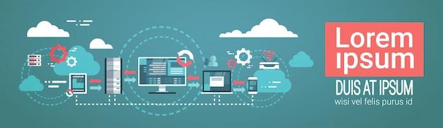 Datacenter cloudcomputerverbinding hosting server database synchroniseer technologie