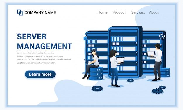 Datacenter concept met mensen die werken op servers.