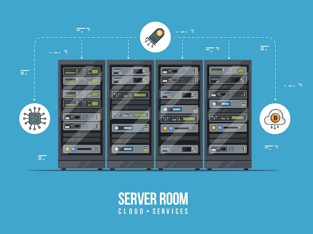 Datacenter en serverruimte. gegevensopslag en uitwisseling service vlakke afbeelding. cloud service-apparatuur met hud-elementen.
