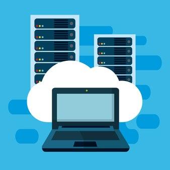 Datacenter fron laptop vector illustratie grafisch ontwerp