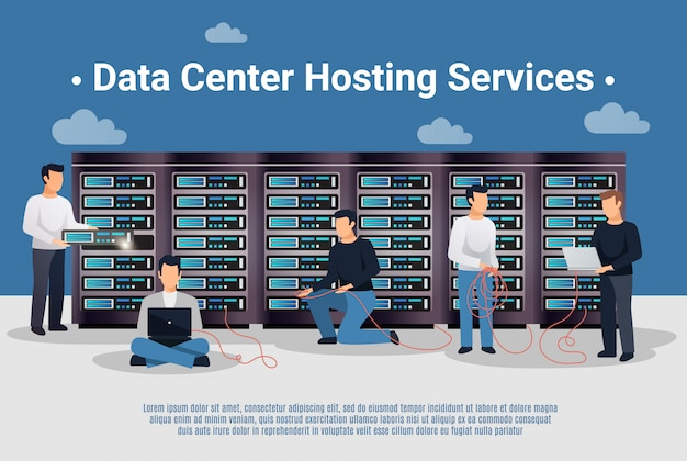 Datacenter hosting illustratie