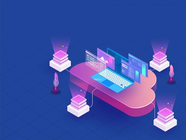 Datacenter isometrisch ontwerp.