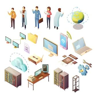 Datacenter isometrische geïsoleerde pictogrammenreeks serverhardware en technisch personeel ondersteunend veiligheid van