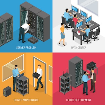 Datacenter isometrische illustratie set