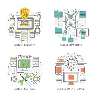 Datacenter lineaire composities inclusief serverinstellingen en beveiligingssysteem cloud computing-apparaten informatie-opslag geïsoleerd