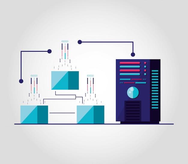 Datacenter met circuit geïsoleerde pictogram