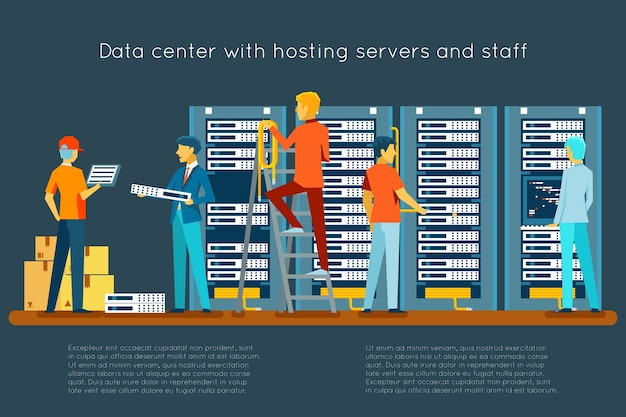 Datacenter met hostingservers en personeel. computertechnologie, netwerk en database, internetcentrum, communicatieruimte