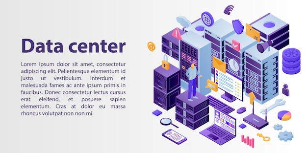 Datacenter netwerk concept banner, isometrische stijl