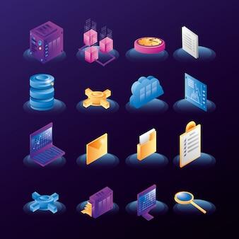 Datacenter netwerkpictogrammen
