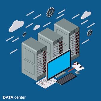 Datacenter platte isometrische vector concept illustratie