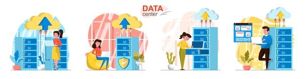 Datacenter-scènes in vlakke stijl