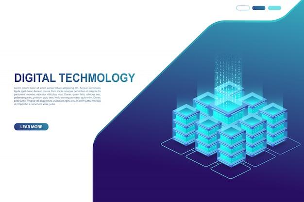 Datacenter, serverruimte. concept van cloudopslag, gegevensoverdracht en gegevensverwerking. digitale informatietechnologie.
