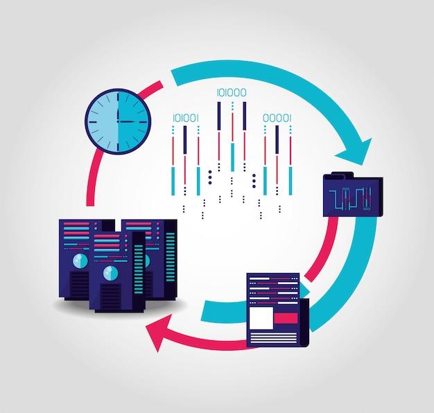 Datacenter-service met ingestelde pictogrammen